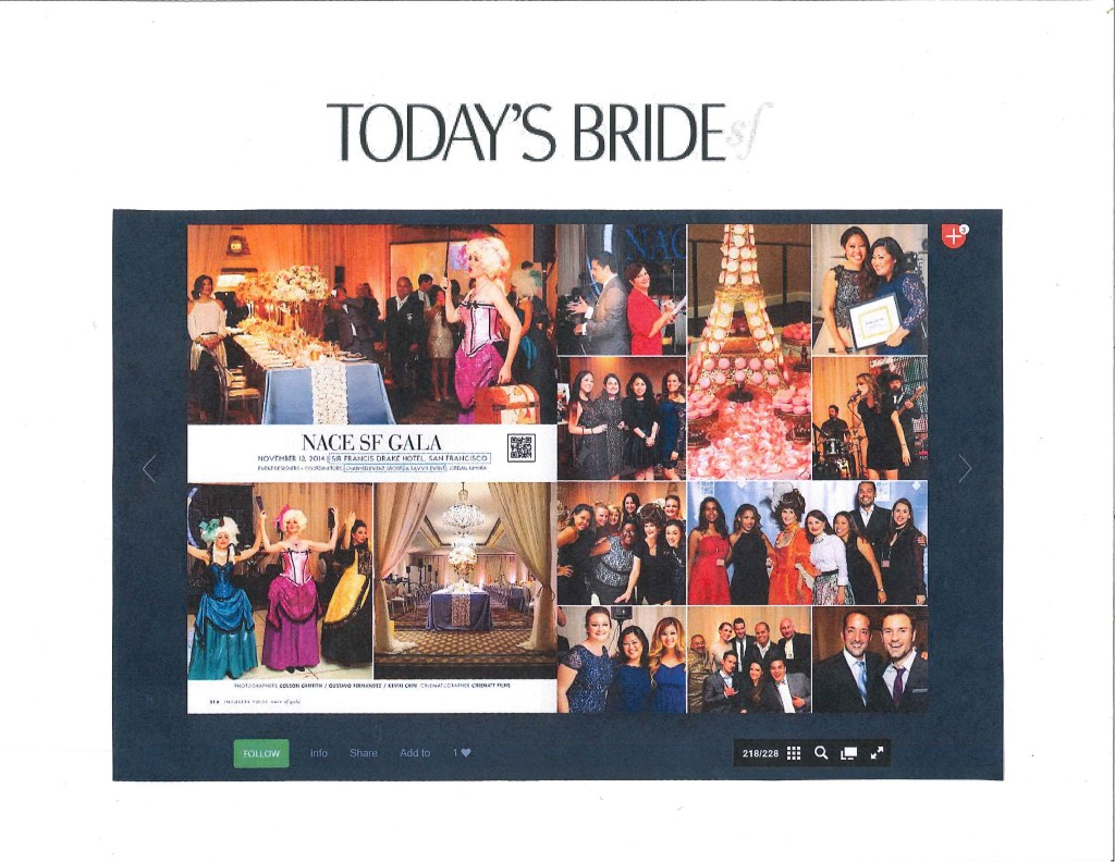 Spread on the San Francisco NACE gala in the January, 2015 issue of Today's Bride SF